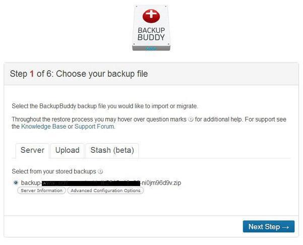 Backup WordPress - BackupBuddy Schermata iniziale della procedura di ripristino